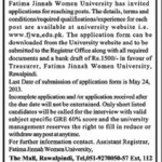 Teaching Staff Required At Fatima Jinnah Women University Rawalpindi