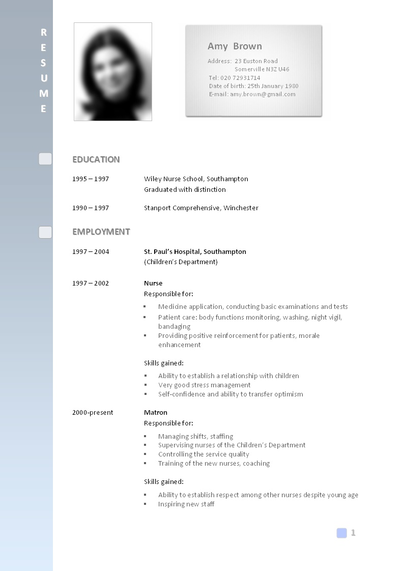 Best Format For A Cv – Google Image