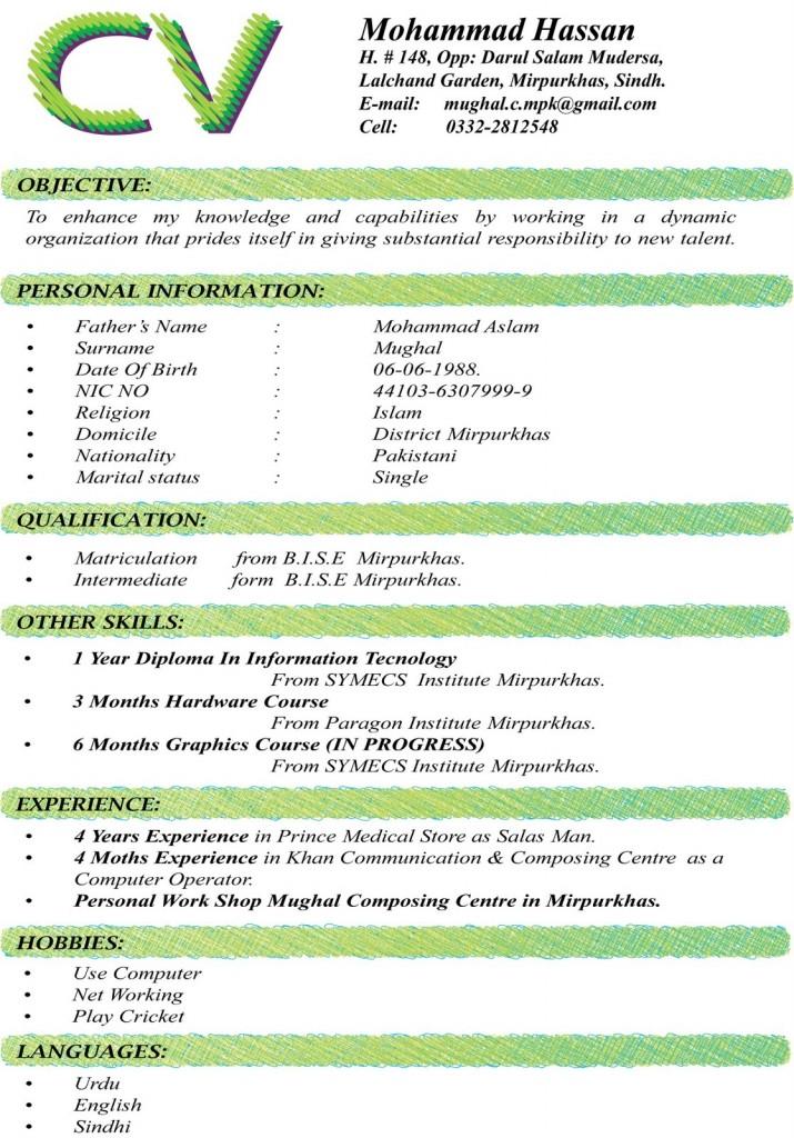 Format For CV - More CV Samples