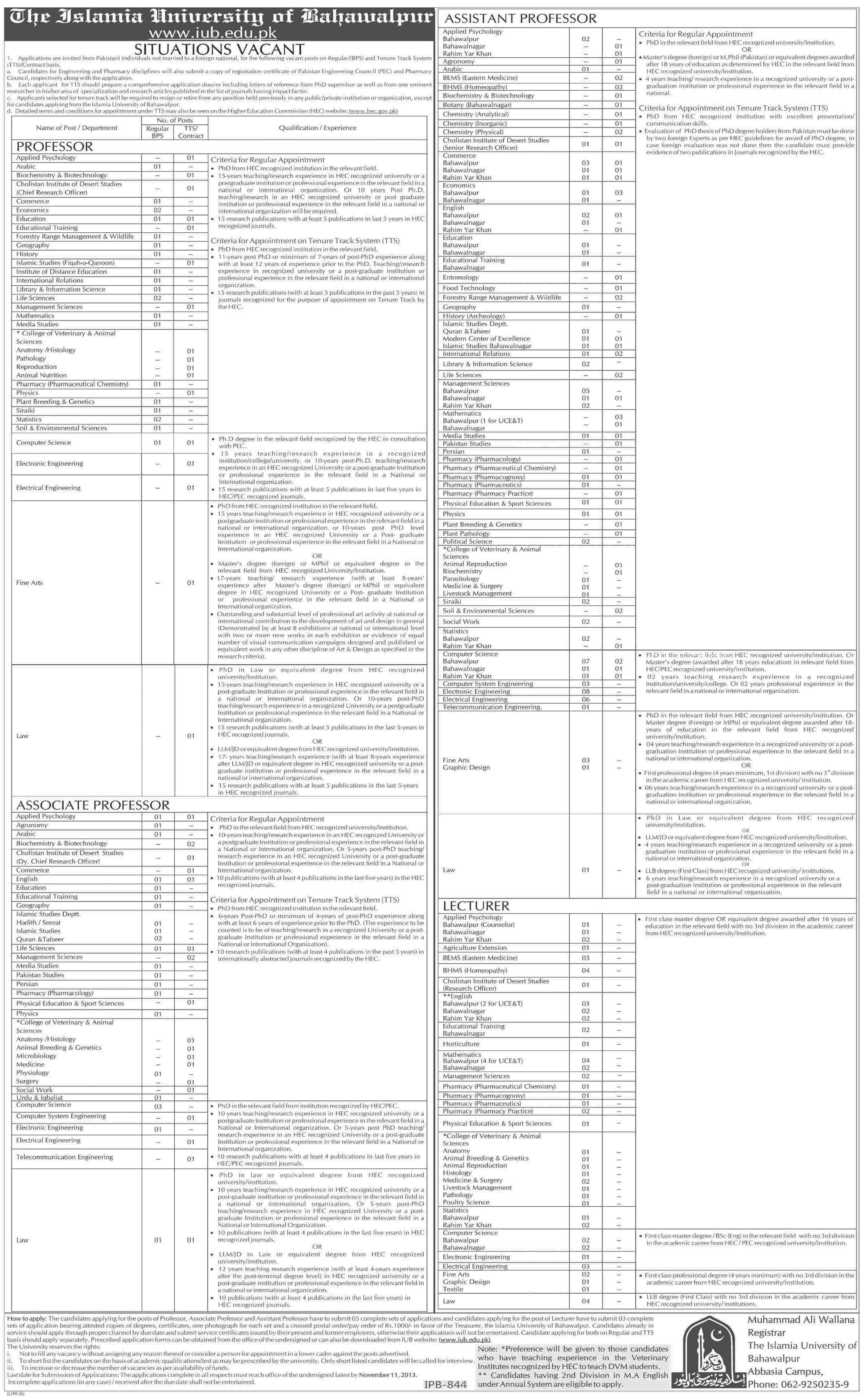 Teaching Staff Required At The Islamia University Of Bahawalapur 2013