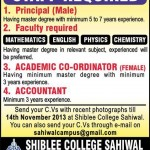 Staff Required In Shiblee College Sahiwal