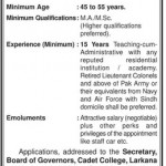 Principal Required At Cadet College Larkana