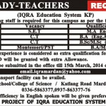 Lady Teacher Jobs In Iqra Education System In Mardan