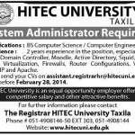 System Administrator Jobs in HITEC University Taxila