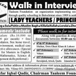 Teachers Required At Taleem Foundation