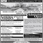 Admissions In Mohi Ud Din Islamic University Islamabad