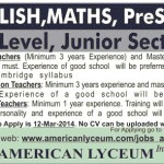 Teachers  Americal Lyceum School Jobs