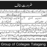 Teaching Staff Needed At  Punjab Group of Colleges Chakwal