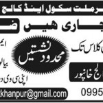Teaching Staff Required For Tameer E Millat School And College Khanpur