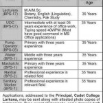 Staff Required At Cadet College Larkana