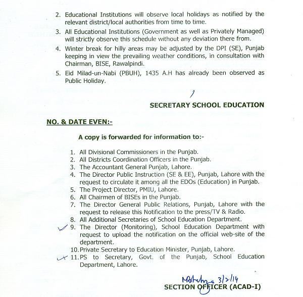 Notification of Summer Vacations for Schools in Punjab Page 2
