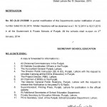 Winter vacations 2014 notification