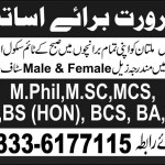 Teachers Required In Science School, Multan