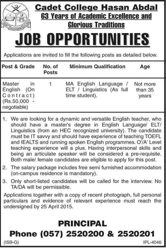 English Teacher Required Cadet College Hasan Abdal