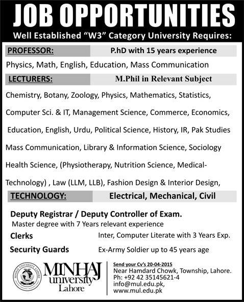 Minhaj University Lahore Jobs 2015