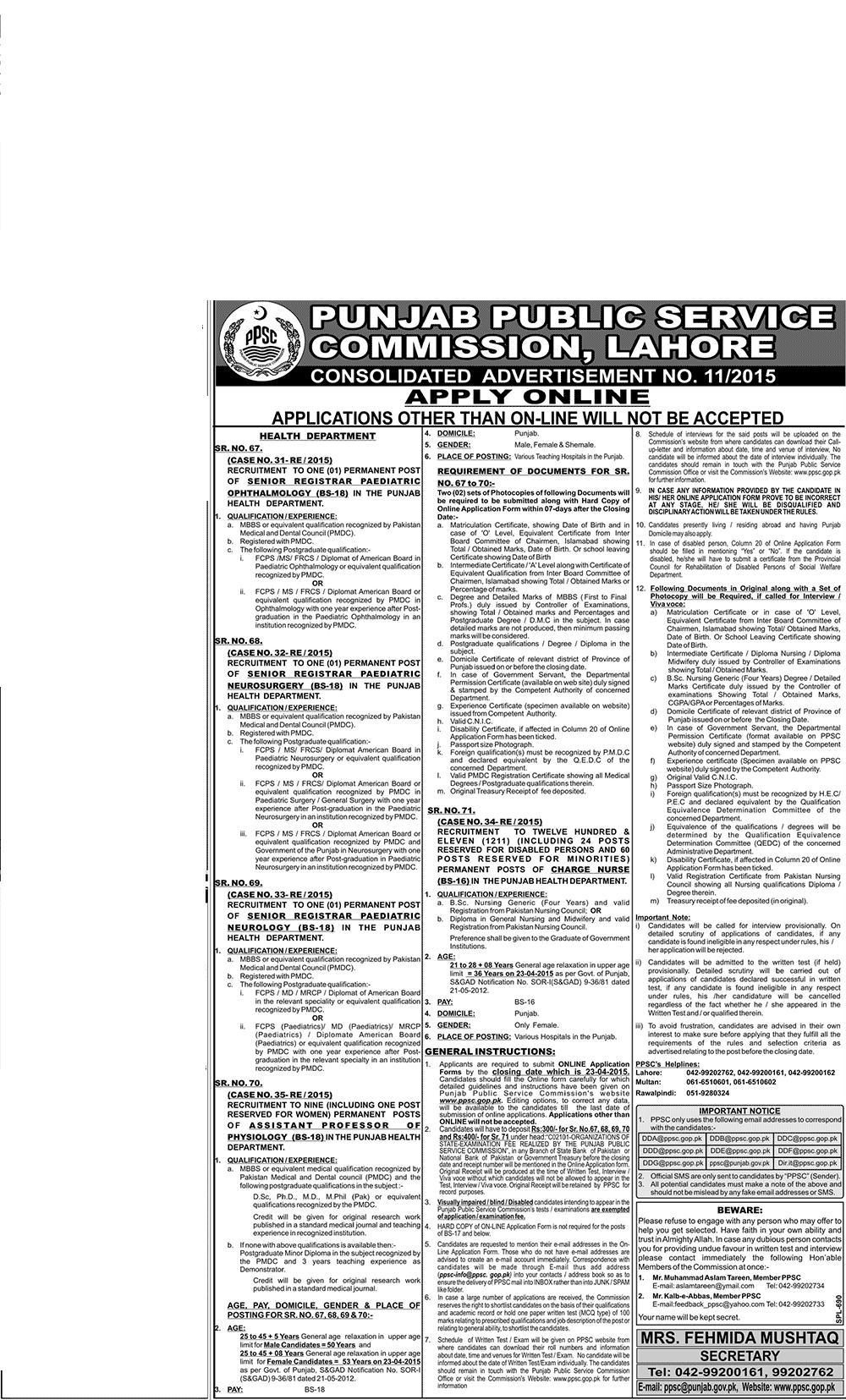 Punjab Public Service Commission Jobs 2015