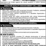 Staff Required At  Lahore Garrison University