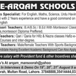 Dar e Arqam Schools Lahore for Subject Specialist Montessori Teachers 2015