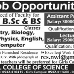 Royal College of Science Narowal Jobs 2015