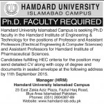 Hamdard University Islamabad Campus For Professor Assistant Professor