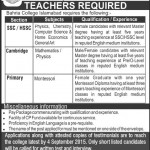 Jobs in Bahria College Islamabad for Teachers