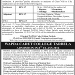 Wapda Cadet College Tarbela For Lecturer