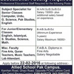 Allied School Pak Campus Lahore Jobs 2016