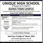 Staff required At Unique High School