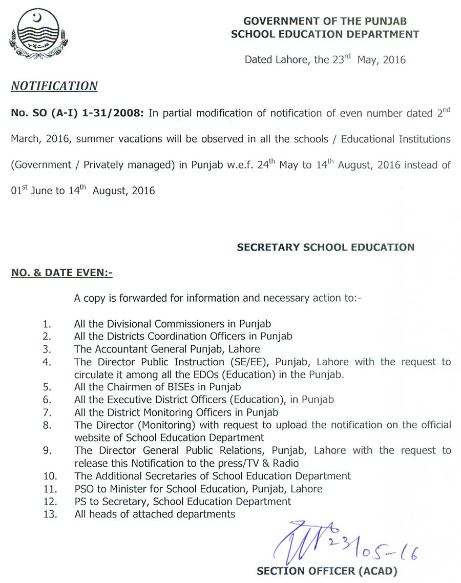Notification of Summer Vacations 2016 Punjab Schools