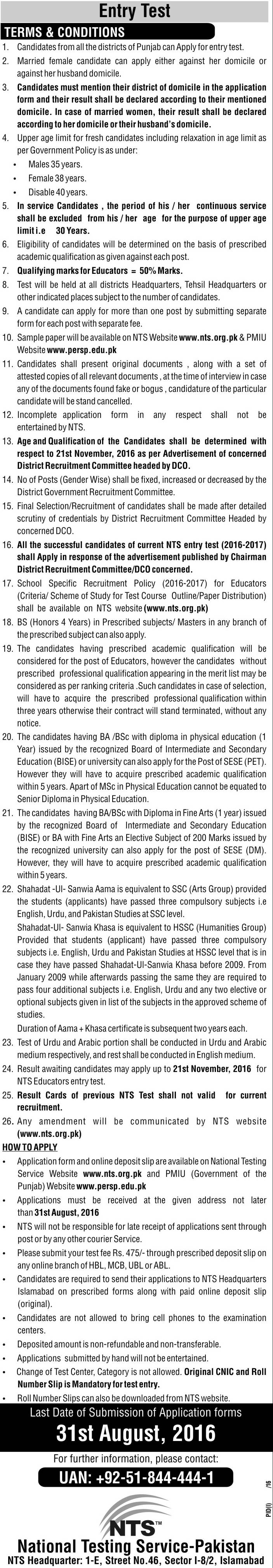 Educator jobs 2016 terms and conditions for candidates for post and NTS test