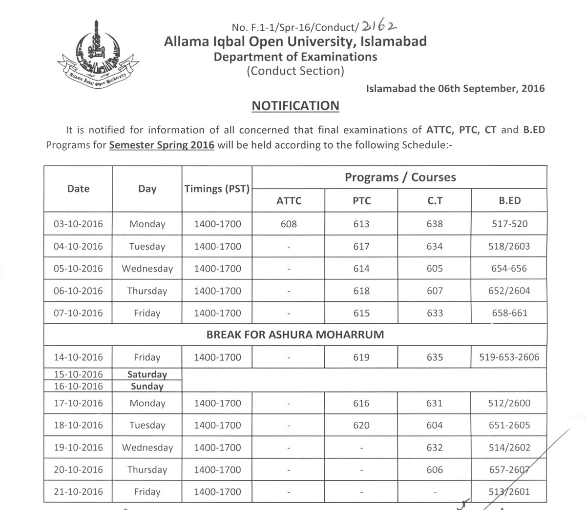 AIOU Datesheet 2016 for B.Ed, ATTC, PTC and CT Programs