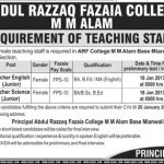 Teachers Needed At Abdul Razzaq Fazaia College