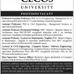 Various Staff Needed at CECOS University Hayatabad Peshawar 2017