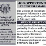 College Of Physicians And Sergeons Pakistan SPSP Job