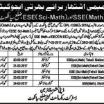ESE Science Math & SSE Math Teachers Interview Schedule Sialkot 2017