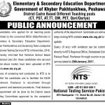 Teaching Posts  Elementary And Secondary Education KPK Peshwer 2017