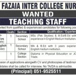 Fazaia Inter College Islamabad Job 2017