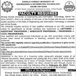 Khawaja Fareed University of Engineering and Information Technology Jobs 2017