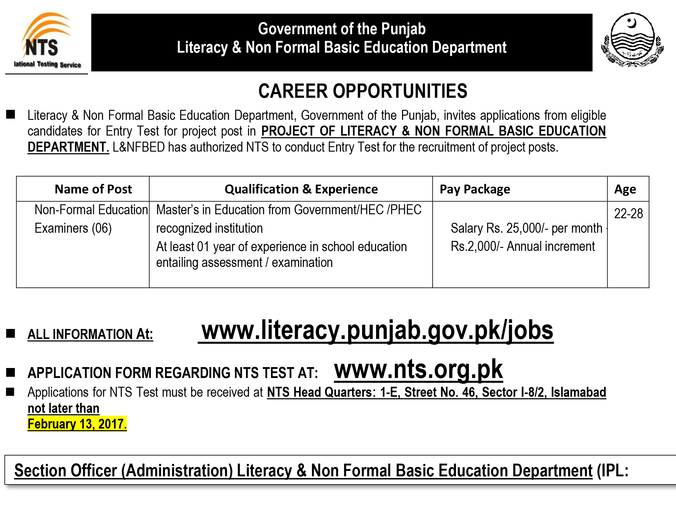 Literacy and non formal basic education department job islamabad 2017 stopboris Image collections