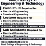Sharif College Of Engineering And Technology Lahore Jobs 2017
