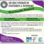PHD Required At Sir Syed University Of Engineering And Technology Karachi 2017