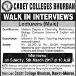 Lecturer Jobs At Cadet College Bhurban Murree 2017