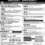 Hajvery University Admission In Lahore 2017