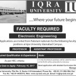 Staff Needed At Iqra University Islamabad 2017