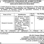 University College Of Agriculture Sargodha Jobs 2017