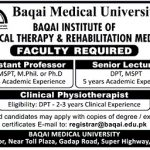 Baqai Medical University Jobs Karachi 2017
