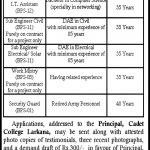 Cadet College Larkana Jobs 2017