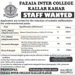 Fazaia Inter College Kallar Kahar Jobs 2017