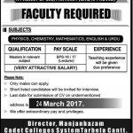 Manjanbazam Cadet Colleges System Jobs 2017