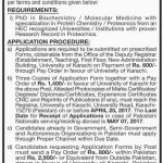 National Center Of Proteomics University Of Karachi Jobs 2017